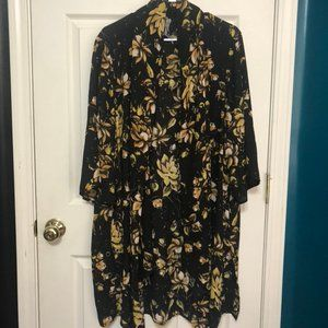Black and Yellow Floral Kimono